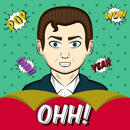 Comic man with a comic expressions. Pop art illustration - Vector