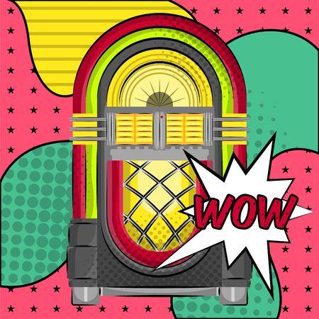 Neon jukebox on a halftone comic background. Pop art - Vector Ilustração