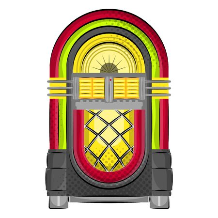 Isolated neon wurlitzer jukebox. Old music - Vector