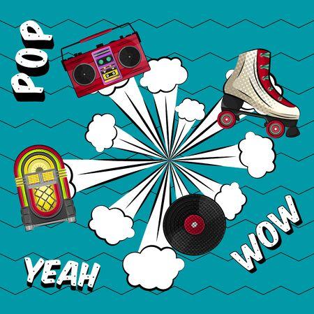 Neon jukebox, vintage radio, retro roller skate and vinyl recordwith a comic expression. Pop art illustration - Vector Illustration