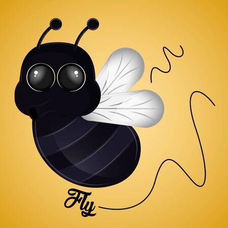 Cartoon of a cute happy fly - Vector Çizim