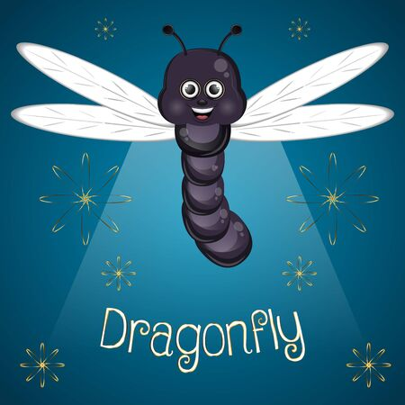 Cartoon of a cute happy dragonfly - Vector Ilustrace