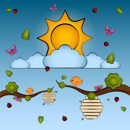 Branch with insects and a bird over a sunset cartoon - Vector