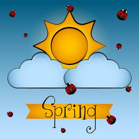 Sun, ladybugs and clouds with a spring text. Spring season - Vector
