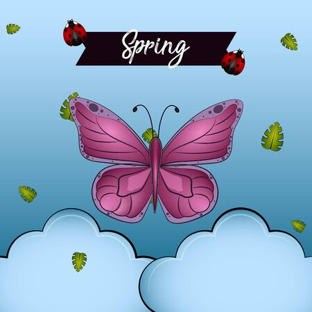 Purple butterfly with a spring text. Spring season - VEctor Stock Illustratie