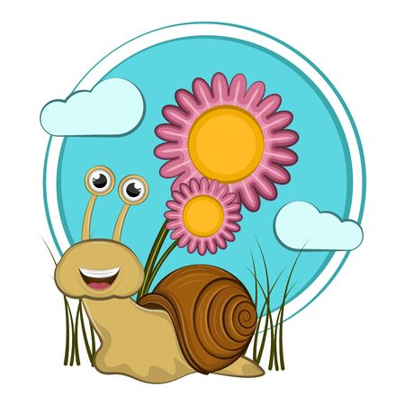 Cartoon of a cute happy snail with flowers - Vector