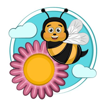 Cartoon of a cute happy bee with flowers - Vector Ilustrace