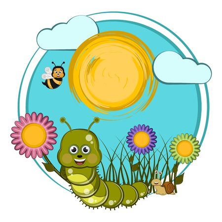 Cartoon of a earthworm, bees and snail with flowers - Vector