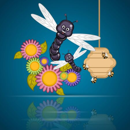 Dragonflies with honeycomb and flowers - Vector Ilustrace