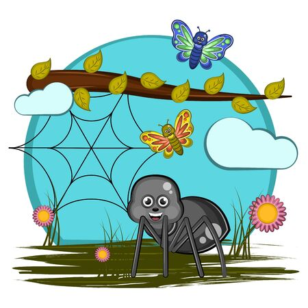 Cute insects in a cartoon landscape - Vector Vector Illustration