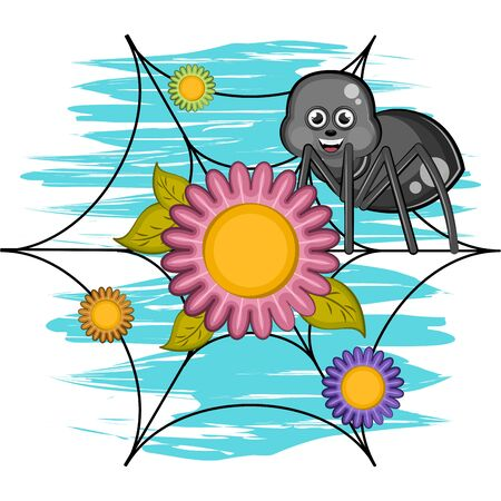 Cartoon of a cute happy spider over a spiderweb with flowers - Vector