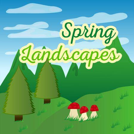 Natural spring landscape. Spring background. Natural enviroment - Vector Illustration