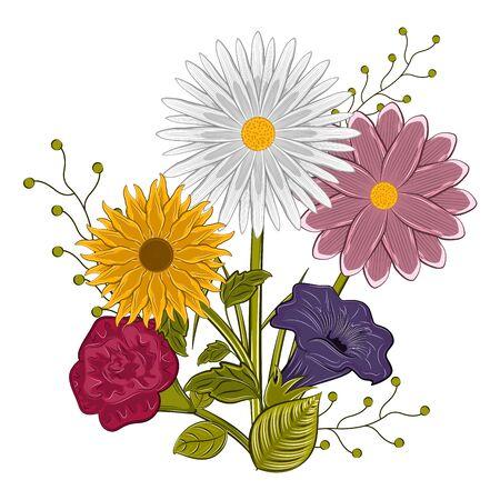 Isolated floral bouquet. . Spring season. Watercolor flowers - Vector illustration Ilustração Vetorial