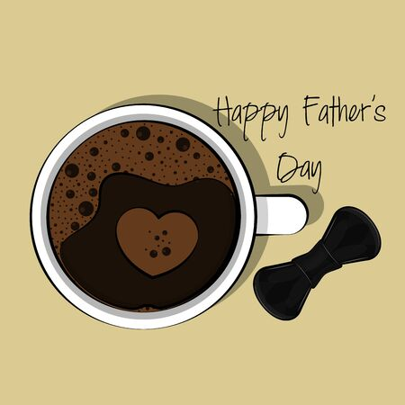 Happy fathers day card with a coffee cup and bowtie