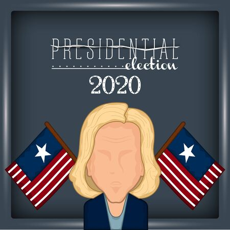 Woman avatar with flags of United States. Presidential election poster. Presidential candidate - Vector illustration