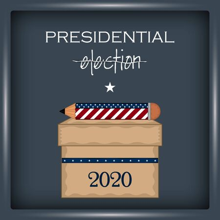 Ballot box with a pencil in a presidential election poster - Vector illustration