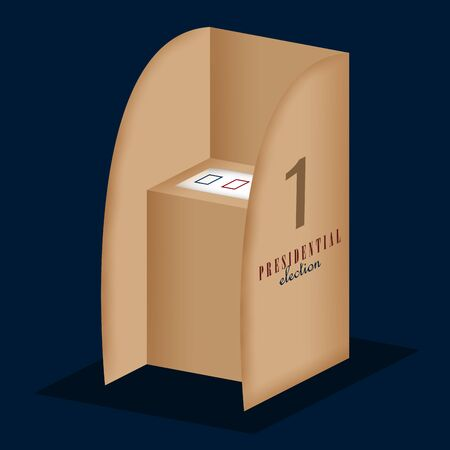 Voting cubicle in a presidential election poster - Vector illustration