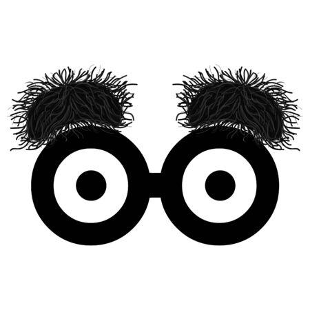 Funny eyes with bushy eyebrows. Joke glasses - Vector 일러스트