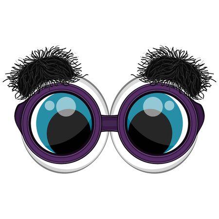 Funny eyes with bushy eyebrows. Joke glasses - Vector