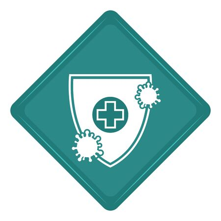 Sticker of a virus protection shield icon - Vector