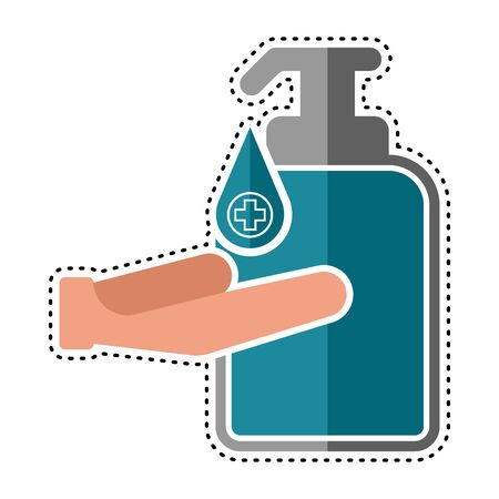 Dotted line antibacterial gel icon - Vector illustration