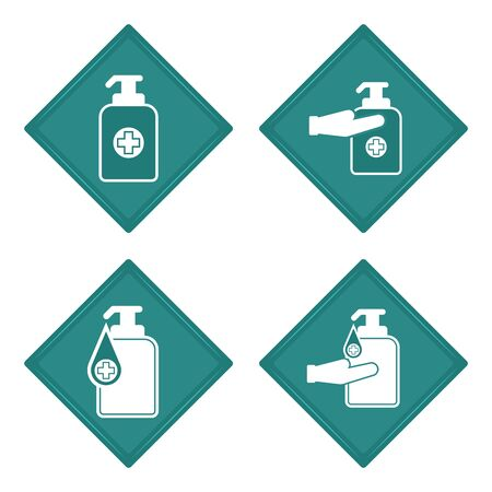 Stickers of a antibacterial gel icon set - Vector