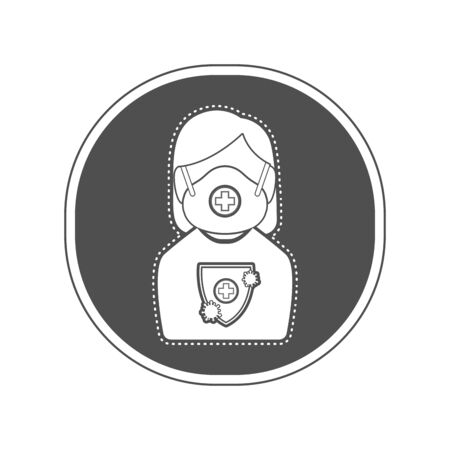 Sticker of a woman with protection uniform. Medical biosecurity uniform - Vector