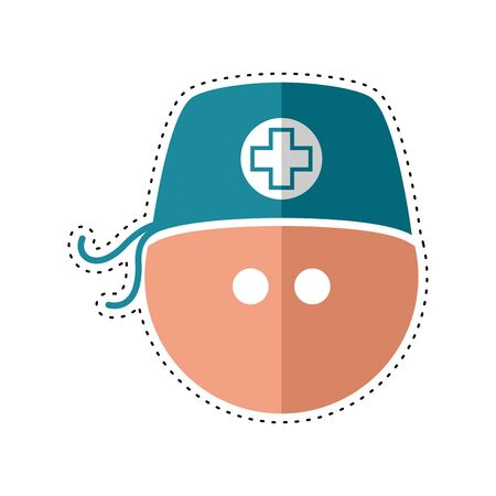 Dotted line man with a surgical cap icon. Medical biosecurity uniform - Vector Vecteurs
