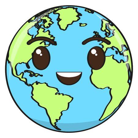 Caricature d'une planète terre heureuse - vecteur