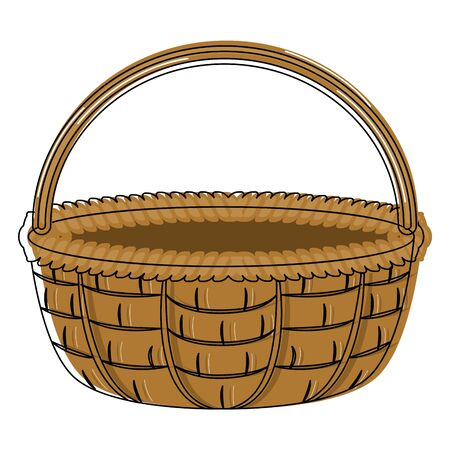 Isolated brown woven basket over a white background - Vector
