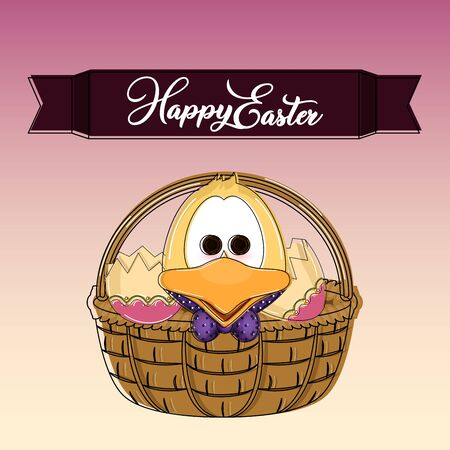 Happy easter poster. Cute duckling cartoon - Vector