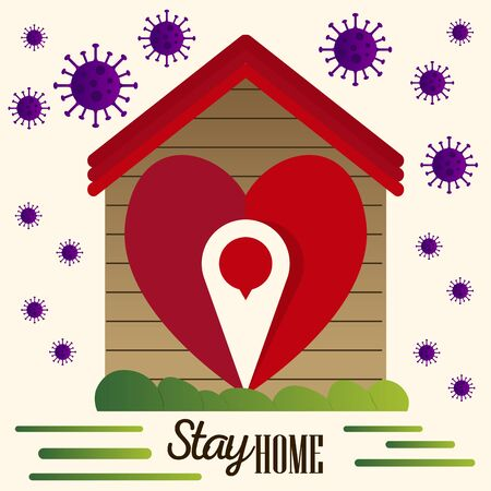 Stay at home template. House and heart icon - Vector