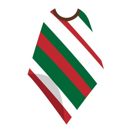 Isolated traditional mexican poncho. Decorated poncho - Vector