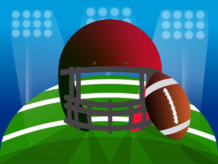 American football helmet and ball over a field. American football poster - Vector