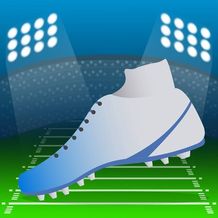 American football shoe over a field. American football poster - Vector