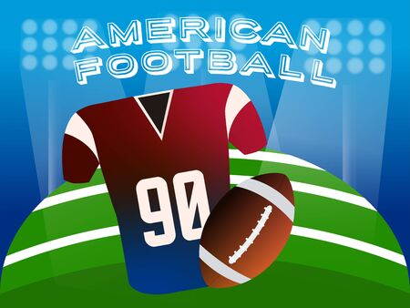 American football jersey and ball over a field. American football poster - Vector
