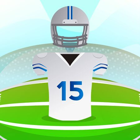 American football uniform over a field. American football poster - Vector
