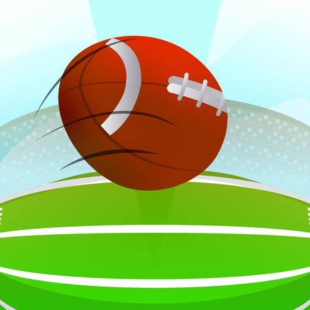 American football ball over a field. American football poster - Vector
