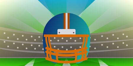 American football helmet over a field. American football poster - Vector