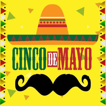 Chapeau et moustache mexicains traditionnels. Modèle Cinco de mayo - illustration vectorielle Vecteurs
