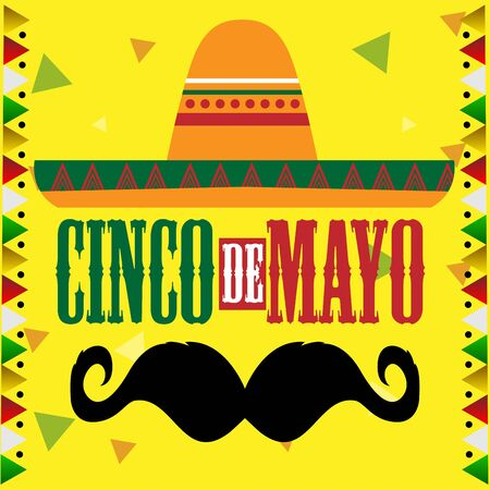 Traditional mexican hat and mustache. Cinco de mayo template - Vector illustration Vetores