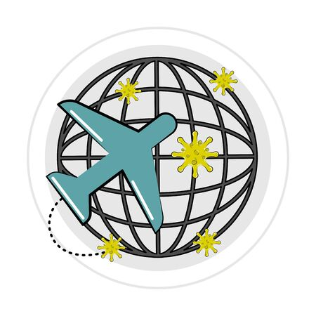 Airplane and virus over the world. Virus traveling by plane icon around the world - Vector