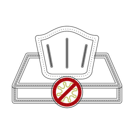 Isolated tissue box icon with virus - Vector Vectores