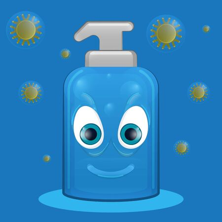 Cartoon of an evil soap bottle - Vector Vettoriali