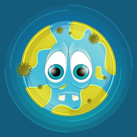 Cartoon of a sad earth planet - Vector