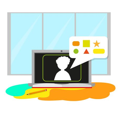 Home study concept. Online class. Self-learning - Vector illustration