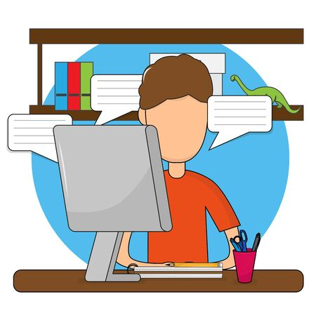 Young man studying in home. Online class. Self-learning - Vector illustration