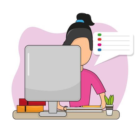 Young woman studying in home. Online class. Self-learning - Vector illustration