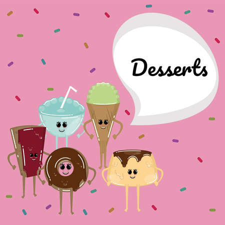 Desserts cartoon illiustration. Chocolate pie, donut, ice cream cone and flan - Vector