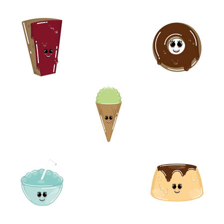 Set of desserts cartoon . Chocolate pie, donut, ice cream cone and flan - Vector Illustration